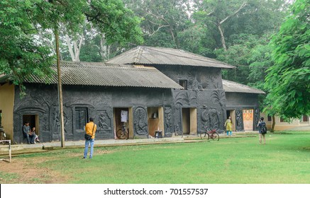 August 14,2017, Bolpur , West Bengal, India. The beautiful mud houses   in Visva - Bharati University at Shantiniketan