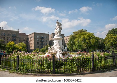 August 15 2016, Heinrich Heine Fountain aka Lorelei Fountain in Bronx, New York City, Usa
