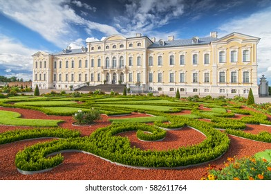 August 15, 2016 Rundale Latvia. Former summer residence of Latvian nobility with a beautiful gardens around. Rundale Palace is one of the two major baroque palaces built for the Dukes of Courland.