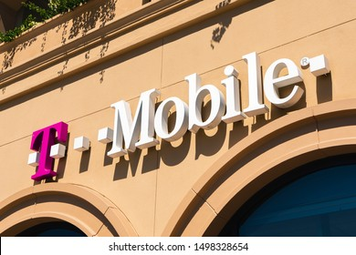 August 15, 2019 San Mateo / CA / USA - Close up of T-Mobile sign at one of the stores in San Francisco bay area