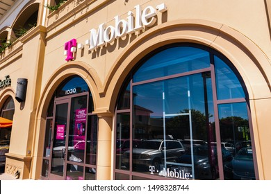 August 15, 2019 San Mateo / CA / USA - T-Mobile entrance to one of the stores in San Francisco bay area