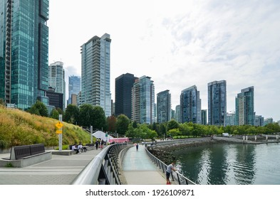 August 15,2019 : BC, Canada : Landscape view of Vancouver Bay Park in BC, Canada in summer daytime. Vancouver landscape view with skyscrapers in business area