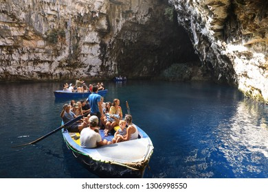 August 15th, 2018. During summer vacation tourists make boat excursion on the lake of Melissani Cave located on the island of Kefalonia, northwest of Sami town, Ionian Islands region, Greece.