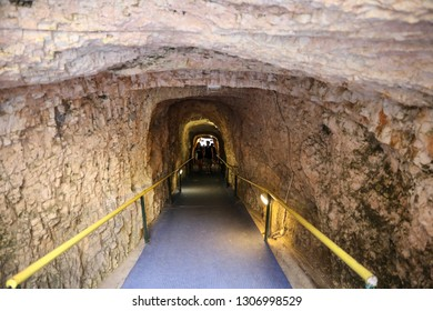 August 15th, 2018. Entrance and exit tunnel leading to the lake in the Melissani Cave located on the island of Kefalonia, northwest of Sami town, Ionian Islands region, Greece.