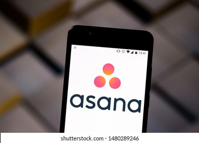 August 16, 2019, Brazil. In this photo illustration the Asana logo is displayed on a smartphone.