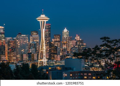 August 16th, 2016. Seattle, Washington. The Space Needle and downtown Seattle during dusk seen from Kerry Park on a clear summer night.