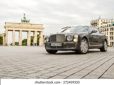 BERLIN?? AUGUST 17, 2014: Bentley Mulsanne parked near Brandenburg Gate during the test drive event for automotive journalists on August 17, 2014 in Berlin, Germany.