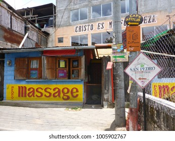August 17, 2014 San Pedro La Laguna, Guatemala: local colorful buildings in la laguna