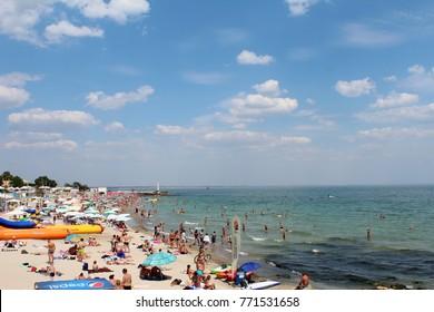 August 17, 2017, people at the Black Sea beach in Odessa, Ukraine. Popular touristic european destination.