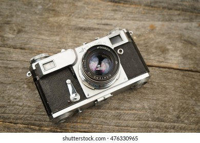 august, 17th, 2016, Caracal, Romania.  Illustrative, editorial photo of old cameras and lenses