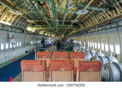 August 17th, 2016. Seattle, Washington. The interior of the first Boeing 747 City Of Everett with testing equipment.