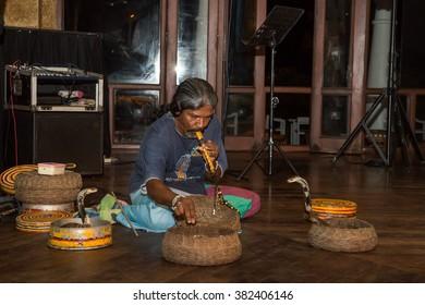 August 18, 2015 - Sri Lanka. Kalutara. Performance Of Snake Charmer.