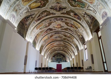 August 18, 2017: Sala Sisto V, in the monumental complex of San Lorenzo Maggiore of Napoli. The fresco represents the seven real virtues