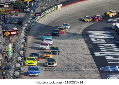 August 18, 2018 - Bristol, Tennessee, USA: Ricky Stenhouse, Jr (17) races off the turn during the Bass Pro Shops NRA Night Race at Bristol Motor Speedway in Bristol, Tennessee.
