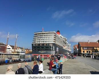 "AUGUST, 18th 2016 - STAVANGER, NORWAY: The cruise ship ""Queen Elizabeth"" in Stavanger in Rogaland county, Norway."