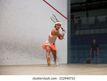 AUGUST 19, 2014 - KUALA LUMPUR, MALAYSIA: Nicol David (Malaysia) hits a back hand return her match in the CIMB Malaysian Open Squash Championship 2014.