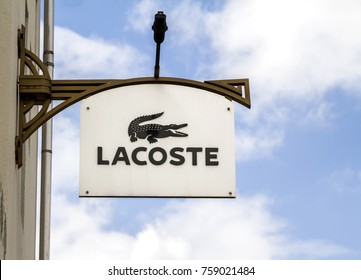 "AUGUST 19, 2017 - INGOLSTADT, Germany: The logo of the brand ""Lacoste"""