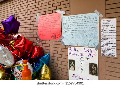 "August 19. 2018. Fans leaves Flowers and Feelings at the New Bethel Baptist Church in Detroit, where memorials to ""The Queen of Soul"" Aretha Franklin were collecting, Detroit, Michigan, USA."