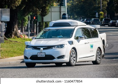 August 19, 2018 Mountain View / CA / USA - Waymo self driving car performing tests on a street near Google's headquarters, Silicon Valley