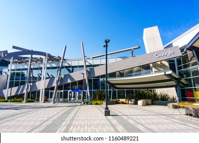 August 19, 2018 Mountain View / CA / USA - Modern buildings at the Google's main headquarters, the Googleplex campus, in Silicon Valley