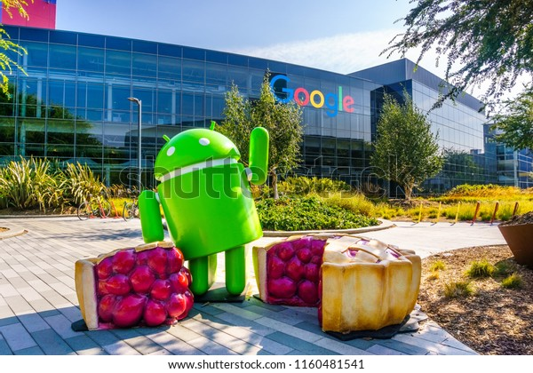 "August 19, 2018 Mountain View / CA / USA - Android Pie sculpture located at at the entrance to Googleplex in Silicon Valley; Android 9.0 ""Pie"" is the newest version of the Android mobile OS;"