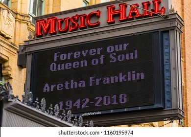 "August 19. 2018. Music Hall Center for the Performing Arts, Sign ""The Queen of Soul"" Aretha Franklin, 350 Madison St, Detroit, MI 48226, Detroit, Michigan, USA."