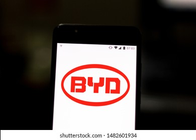 August 19, 2019, Brazil. In this photo illustration the BYD Auto logo is displayed on a smartphone.