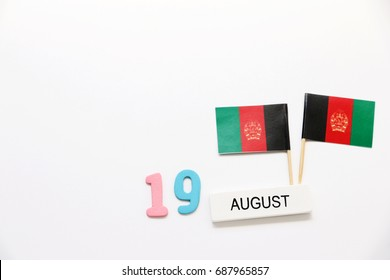 AUGUST 19 Wooden calendar Concept independence day of Afghanistan and Afghanistan national day.top view with space for your text