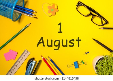 August 1st. Day of the 1 august, calendar on yellow business workplace background. Summer time