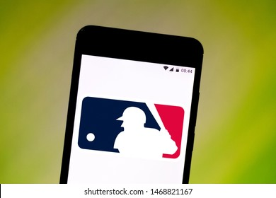 August 2, 2019, Brazil. In this photo illustration the Major League Basebal (MLB) logo is displayed on a smartphone.