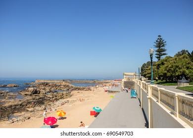 August 20, 2013:  One of the most beautiful beach spots of Porto. Foz, Porto, Portugal