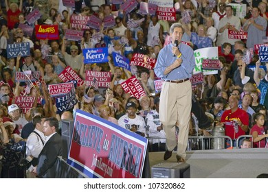 AUGUST 2004 - An enthusiastic Senator John Kerry addresses audience at the Thomas Mack Center at UNLV,  Las Vegas, NV