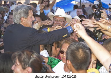 AUGUST 2004 - Senator John Kerry handshakes with audience members of 83rd Intertribal Indian Ceremony, Gallup, NM