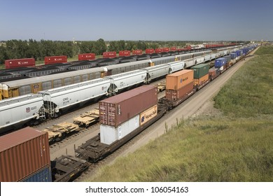 AUGUST 2007 - Elevated view of freight cars at Union Pacific's Bailey Railroad Yards, North Platte, Nebraska, the worlds largest classification railroad yard