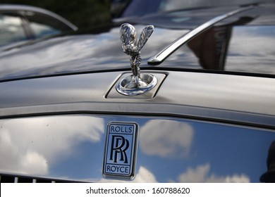 "AUGUST 2011 - KAMPEN: ""Emmy"" or ""Spirit of Ecstacy"", hood ornament of a Rolls Royce luxury car at the Sturmhaube, Kampen, Sylt, Germany."