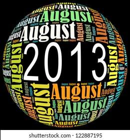 August 2013 info-text graphics arrangement on black background
