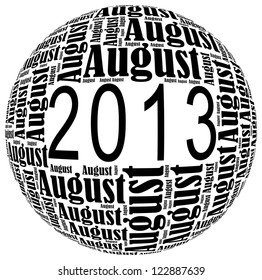 August 2013 info-text graphics arrangement on white background