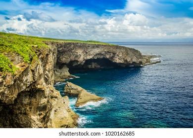 August 2014. Banzai cliff on Saipan island. View on sea.