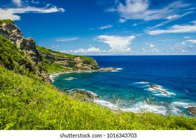 August 2014. Coast near the Forbidden island on the Saipan island.