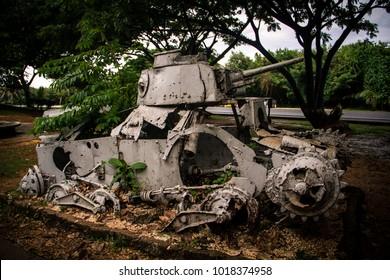 August 2014. Old Japanese tank on Saipan  island in Last Command Post Park.