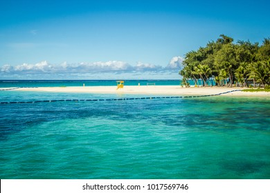 August 2014. View on Managaha park island from Saipan island beach.