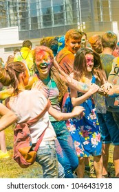 August 2015. Happy people in colorful powder on the Holi festival in Moscow. Russia