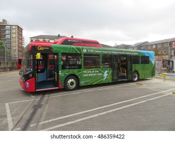 August 2016. An all-electric single-decker bus is demonstrated in Waterloo, South London