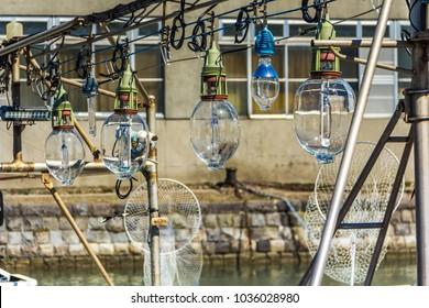 August 2016. Hand made glass sea lamps for fishing. Otaru town. Hokkaido island.Japan.