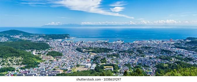 August 2016. Tenguyama (Tengu mountain) in Otaru town. View on Otaru and Ishikari bay. Hokkaido island.Japan.