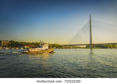 AUGUST 2017, BELGRADE SERBIA: Ada Bridge (Most na Adi), lit by summer sun, as seen from a river cruise