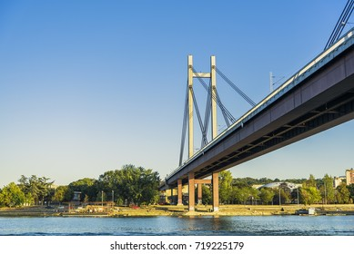 AUGUST 2017, BELGRADE SERBIA: New suspension railway bridge connecting two shores of Belgrade divided by Sava river