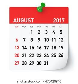 August 2017 - Calendar. Isolated on White Background. 3D Illustration