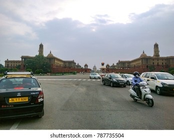 August 2017, Delhi, India - Street view outside Central Secretariat of India and Rashtrapati Bhawan. Traffic on the road of Delhi.