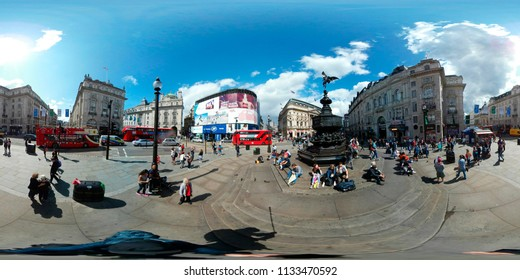 AUGUST 2017 - LONDON: 360 x 180 degree panorama: Piccadilly Circus, London, England.